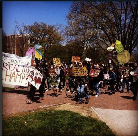 Rally at The Ohio State University in support of their campaign for the Real Food Campus Commitment, Spring 2015